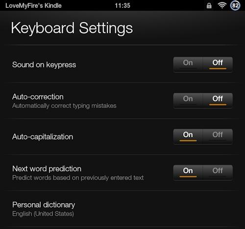 Kindle Fire Keyboard Settings