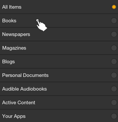 Select Books Option