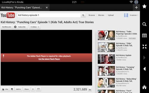 YouTube: Kindle Fire Flash Error
