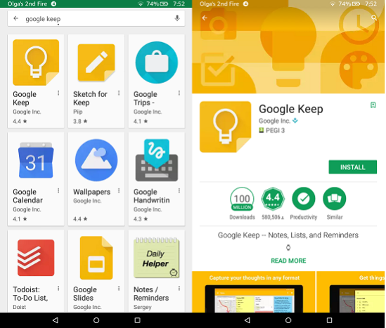 Google Apps On Kindle Fire: Google Keep