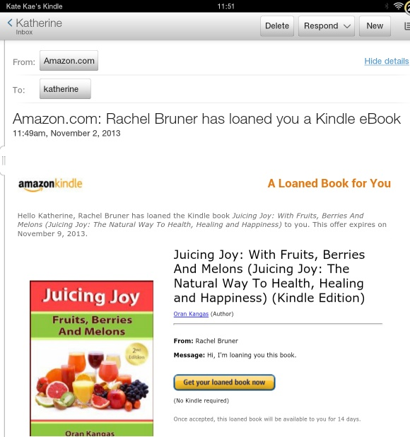 Kindle book loan email from Amazon