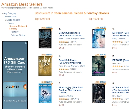 Amazon Best Sellers in Free Kindle Teen Sci-Fi Books