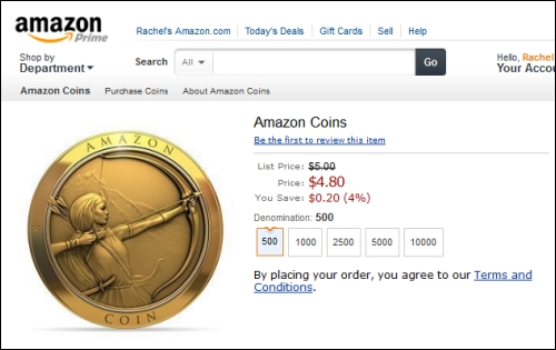 Amazon Coins Item Order Page