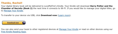 Amazon.com Digital Library Book Will Be Delivered to Kindle Fire