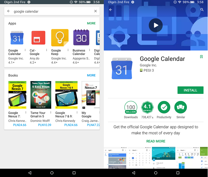 Google Apps On Kindle Fire: Google Calendar