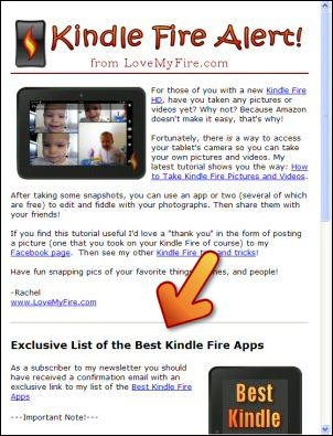 Kindle Fire Alerts with Link to Best Apps