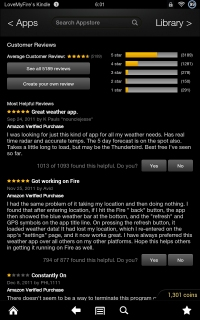 Kindle Fire App Customer Reviews