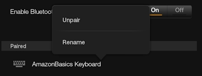 Unpair and Rename Bluetooth on Kindle Fire