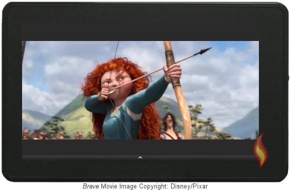 Brave Trailer on my Kindle Fire; Image Copyright Disney/Pixar