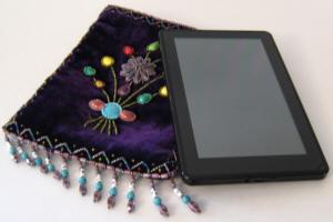 Kindle Fire Case, Purple Beaded Bag