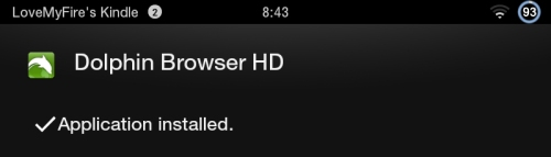 Dolphin Browser HD Installed on Kindle Fire