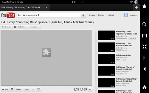 YouTube: Kindle Fire Flash Plugin Error