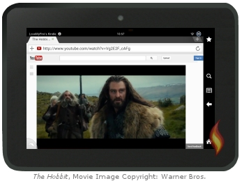 Kindle Fire Flash Video: The Hobbit; movie image copyright: Warner Brothers