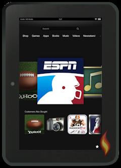 Kindle Fire HD 8.9 ESPN App on Carousel