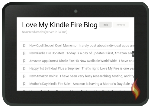Love My Fire RSS Feed on My Kindle Fire