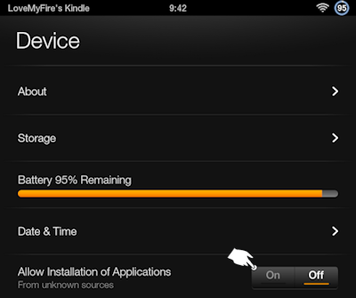 Kindle Fire Device: Allow Installation of Applications