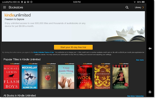 Kindle Fire Bookstore Kindle Unlimited