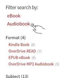 Kindle Fire OverDrive App Search Filter