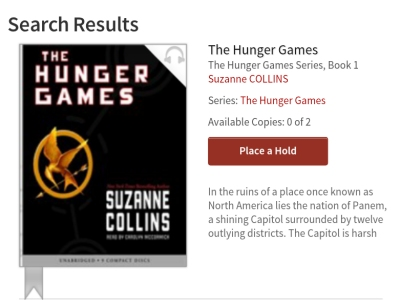 Kindle Fire OverDrive App Book Hunger Games