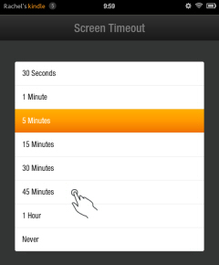 Kindle Fire Screen Timeout Options