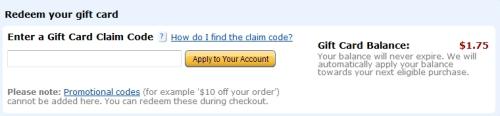 Enter Gift Card Code on Amazon.com