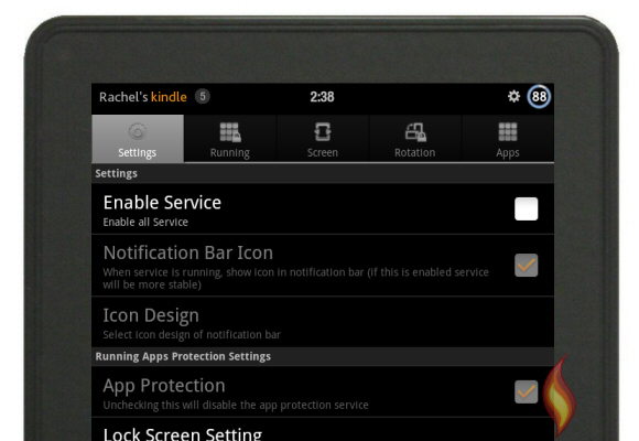 Smart App Protector Settings on my Kindle Fire