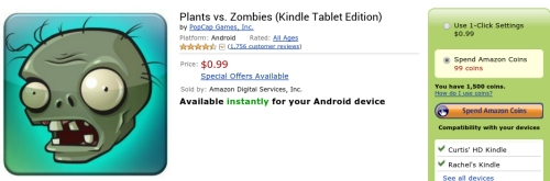 Plants vs Zombies Order Page with Coins
