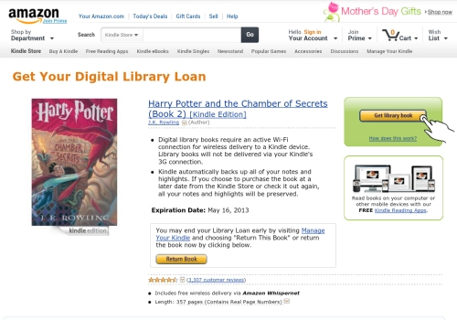 Amazon.com Get Your Digital Library Book Loan