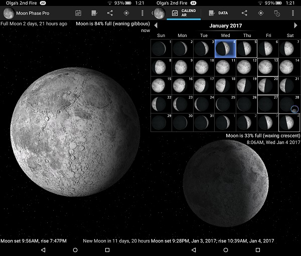 Astronomy Apps For Kindle Fire: Moon Phase Pro