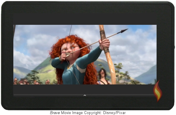 Brave Trailer on my Kindle Fire; Image Copyright Disney/Pixar