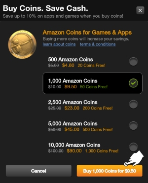 Tap Buy to Purchase Amazon Coins