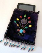 Purple Beaded Bag Used as Kindle Fire Case