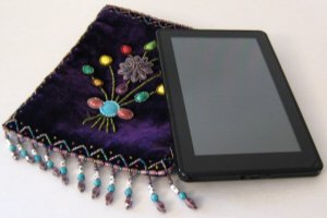 Kindle Fire Case, Purple Beaded Bag