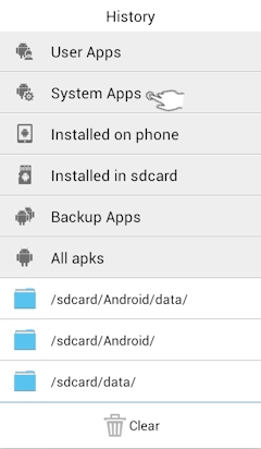 ES File Explorer App: System Apps