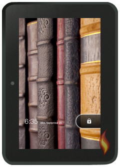 Kindle Fire HD With Book Background