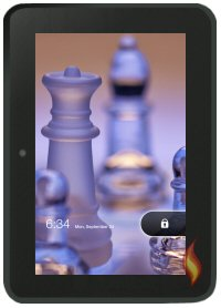 Kindle Fire HD Screen with Chess Background