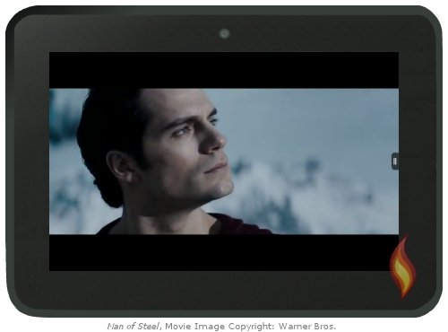 Kindle Fire Flash Video: Man of Steel; movie image copyright: Warner Brothers