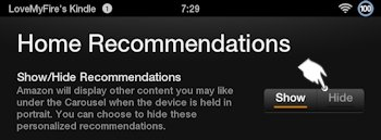 Hide Kindle Fire Home Recommendations