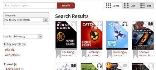 Kindle Fire OverDrive App Book Results