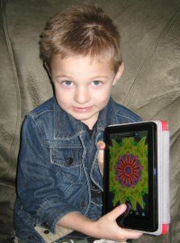 My Nephew Playing Kaleidoscope App on Kindle Fire