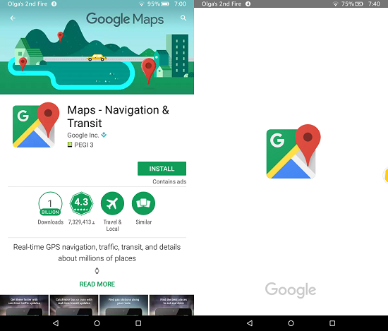 Google Apps On Kindle Fire: Google Maps